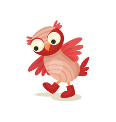 cute funny owlet walking in boots sweet owl bird vector image