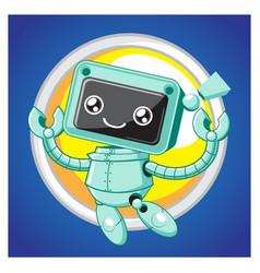 cute little robot jumping vector image