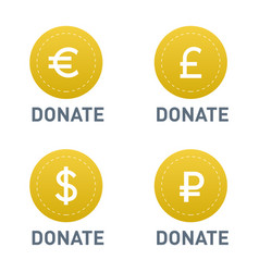 donate buttons set help icon vector image