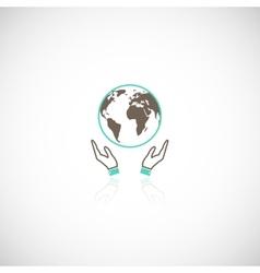 Earth hands icon vector