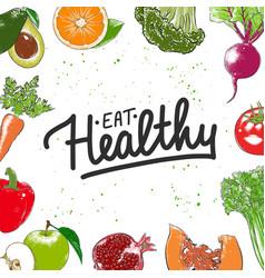 eat healthy modern ink brush calligraphy vector image