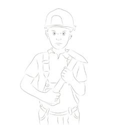 Engineer boy sketch vector image