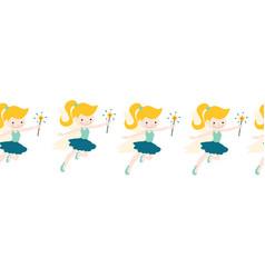 fairy seamless border cute fairies with vector image