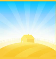 farm house near field of wheat vector image