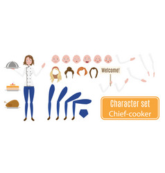 female chef character set poses and emotions vector image