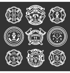 Firefighter White Label Set vector image