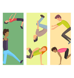 fitness sport parkour cards people concept young vector image