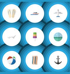 flat icon summer set of wiper aircraft ship hook vector image