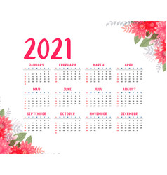 Flower style 2021 beautiful calendar design vector