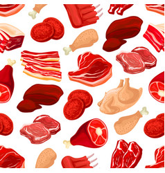 Fresh pork and beef meat seamless pattern vector