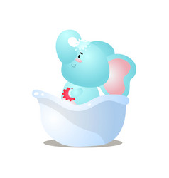 Funny kid blue elephant is take a shower vector