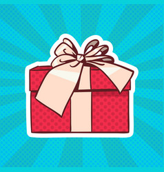 gift box pop art retro style of realistic present vector image