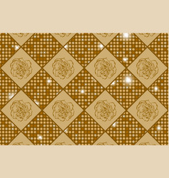 Golden seamless chess styled vintage texture with vector