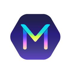 gradient logo letter m in pentagon vector image
