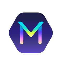 gradient logo the letter m in the pentagon vector image