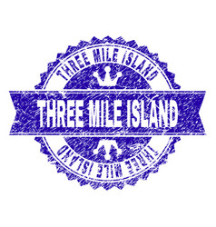 Grunge textured three mile island stamp seal with vector
