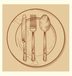 hand sketched vintage cutlery and plate vector image