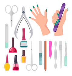 Hands and manicure instruments vector