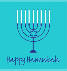 Hannukah menorah graphic on turquoise blue vector