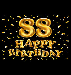 Happy birthday 88th celebration gold balloons and vector