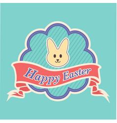 Happy easter text in a banner with peeps character vector