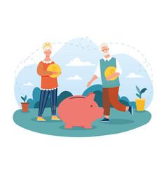 Happy elderly couple is saving money in piggy bank vector