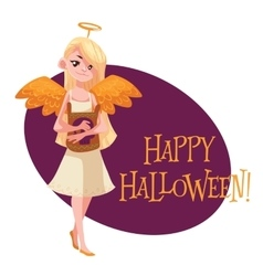 Happy girl dressed as angel for Halloween vector image