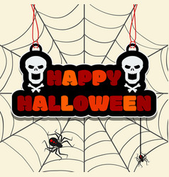 Happy halloween text on the hanging sign or banner vector
