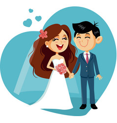 Happy wedding couple invitation vector