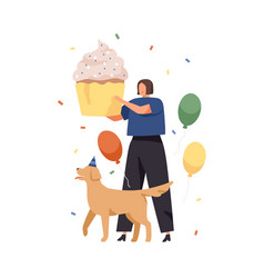 happy woman and dog with huge cake for birthday vector image