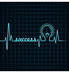 heartbeat make success word and light-bulb vector image