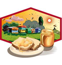 Hexagon frame with jar of honey vector