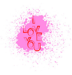 I love you red text with pink splatter vector