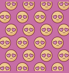 In love emojis pattern vector