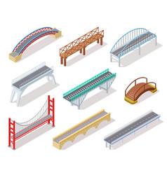 isometric bridge concrete bridges drawbridge vector image