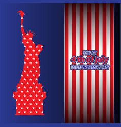 july 4 independence day usa statue liberty vector image