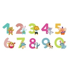 Kids numbers with cartoon animals vector image