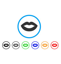 lips smile rounded icon vector image