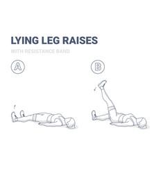 lying leg raises or lifting with resistance band vector image