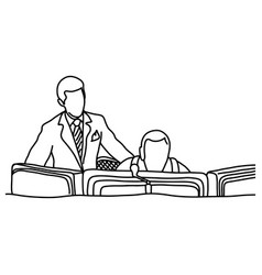 Manager assisting his co-worker in computer room vector