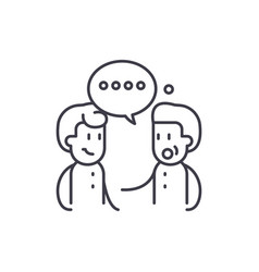 meeting friends line icon concept meeting friends vector image