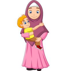 muslim mother hugging her son vector image