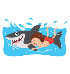 of kid swimming with shark vector image