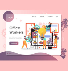 office workers website landing page design vector image