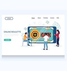 online roulette website landing page design vector image