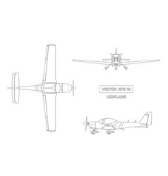 outline drawing of airplane on white background vector image