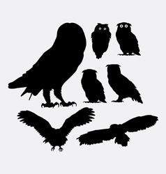 Owl bird silhouettes vector