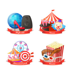 party at nightclub and circus amusement park vector image
