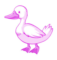 pink duck on white background vector image