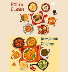 Polish and armenian cuisine dinner menu icon vector